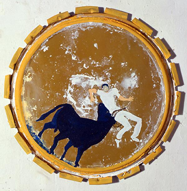 Tauromachie camargaise sans titre, acrylique sur couvercle de pot@de peinture