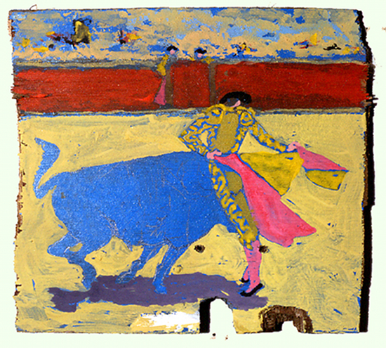 Tauromachie espagnole sans titre, acrylique sur contreplaqué@bleu (20 x 21 cm)