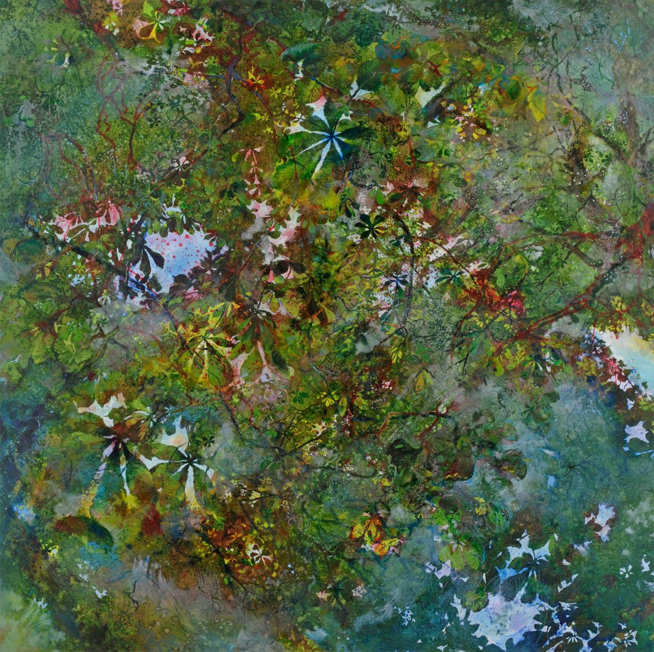 Lumière & vent dans les feuilles, (130 X 130 cm)