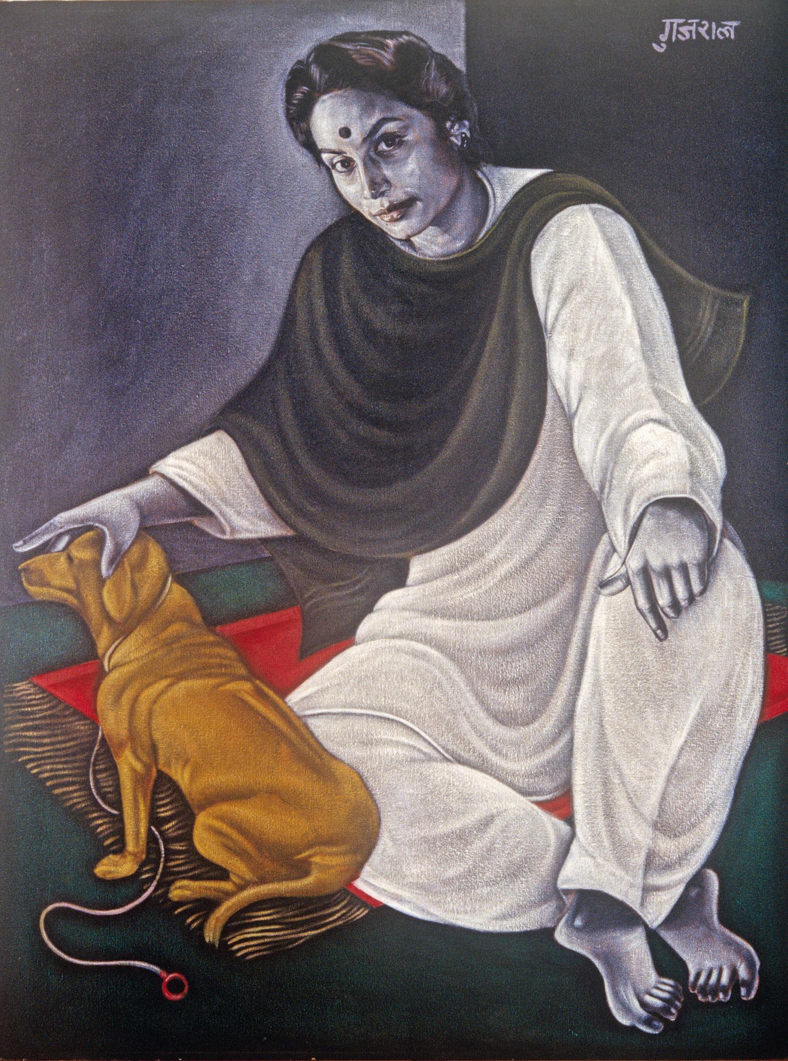 Kiran (la femme de l'artiste), acrylique sur canevas