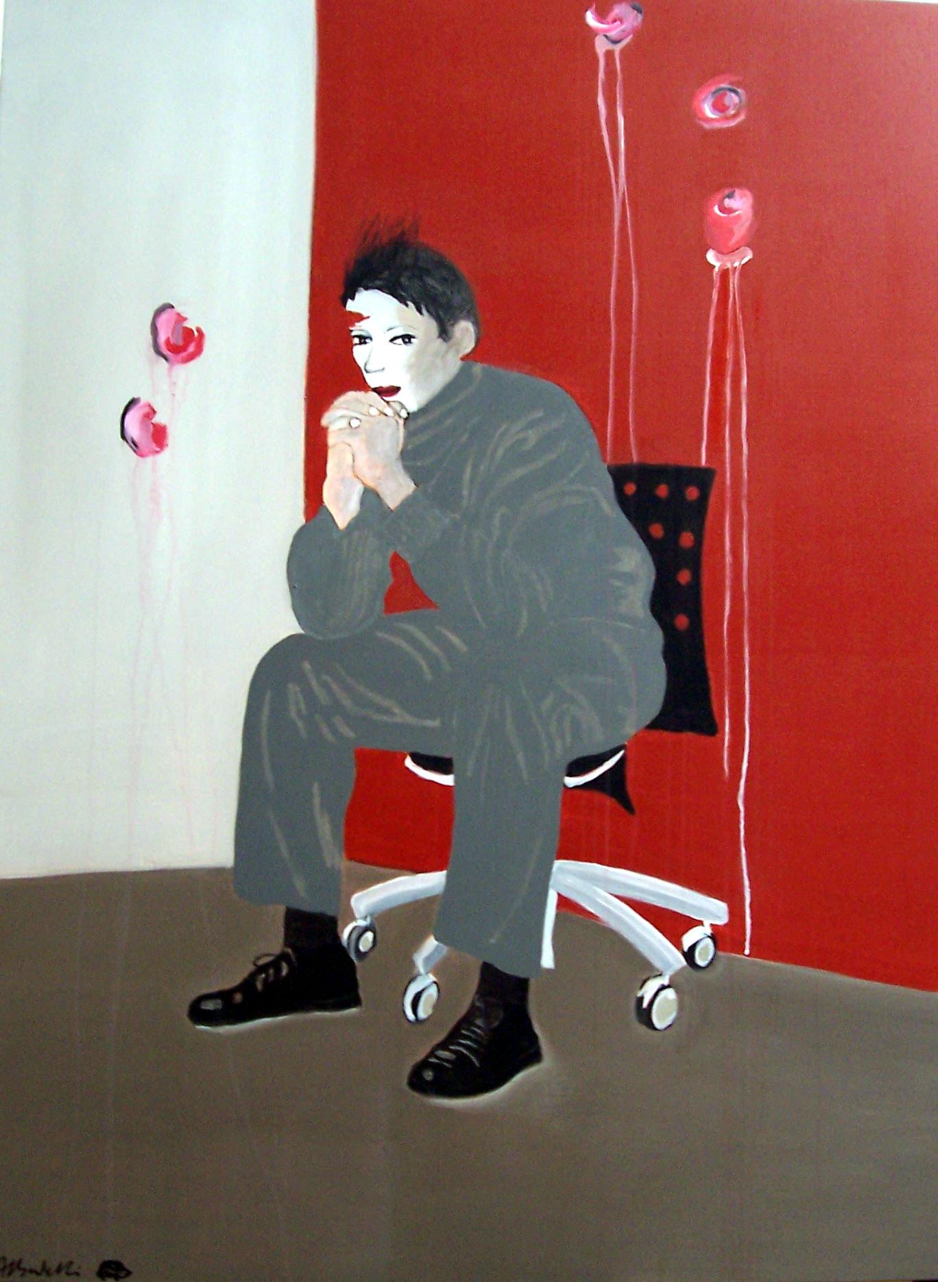 L'attente, peinture sur toile (130 x 97 cm)