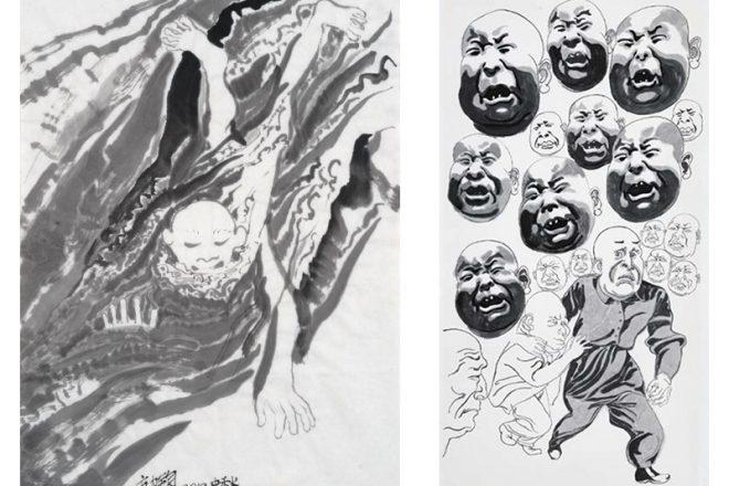 De gauche à droite : « Milieu de l'automne » (2012) et « Eté 2015 », Fang Lijun