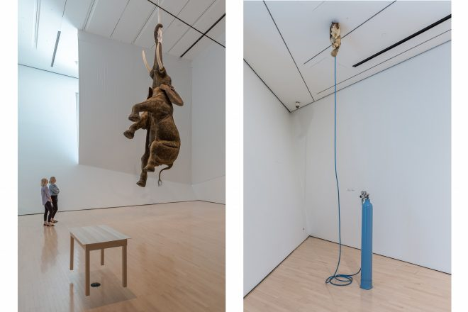 De gauche à droite: installation signée Daniel Firman et «Beginnings of Space Travel», Werner Reiterer (2002)