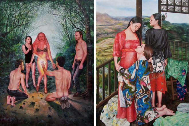 De gauche à droite : « Je jure de t'aimer jusqu'à l'aube » (2017 et «L'inutile beauté » (2015), Nazanin Pouyandeh
