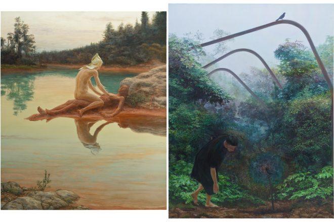 De gauche à droite : « Pygmalion » (2015) et « Trio » (2016), Simon Pasieka