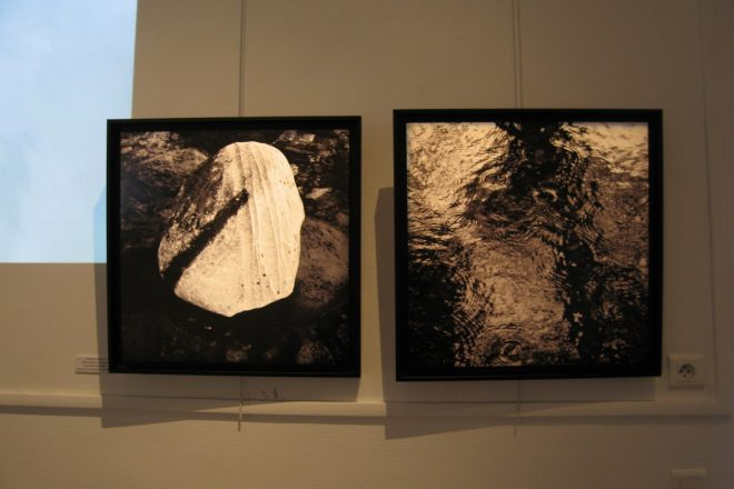 Vue de l'exposition « Ciels d'eau, eau de terre », présentée par Gianbattista Bresciani en 2015 à L'Orangerie de Cachan