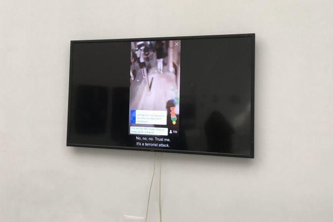 Vue de l'exposition «L'ennemi de mon ennemi» de Neil Beloufa au Palais de Tokyo
