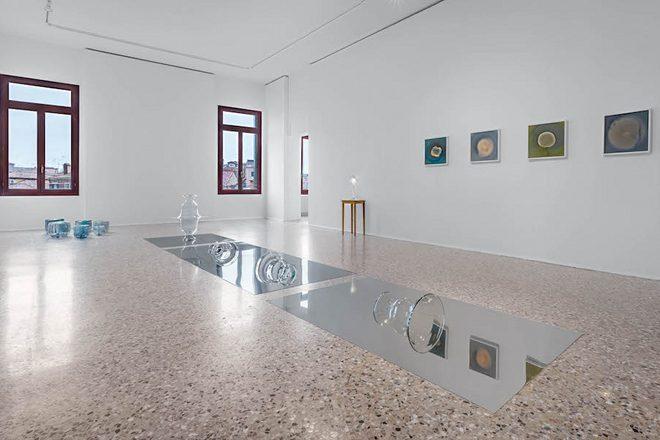 Au sol, «Sans titre» par Hreinn Fridfinnsson. Au mur, «Mycota» par Dove Allouche