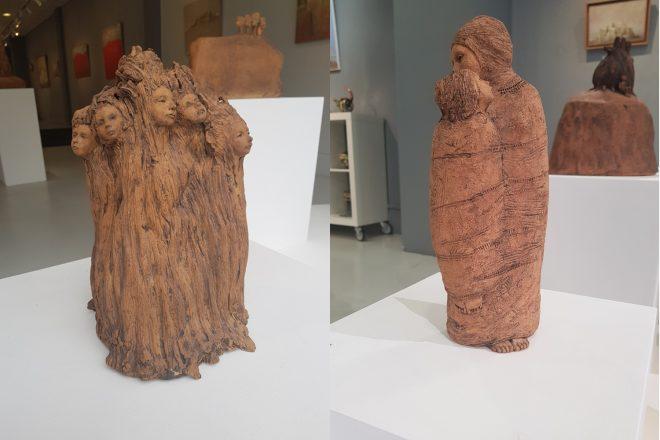 De gauche à droite : « La Forêt » et « Cocon mère-fille », Jade