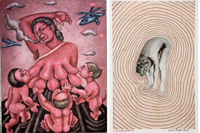 De gauche à droite: Dessin signé Anne Van Der Linden et «L'Augmentante» (2018) d'Antoine Perpère