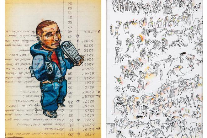 De gauche à droite: Dessin signé Damien Roudeau (2012) et «En rage» (2018) de Catherine Dard, alias Croc