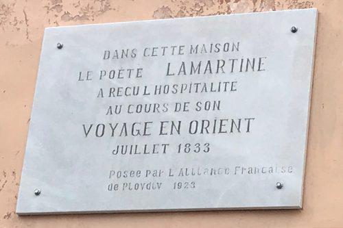 Plaque en mémoire du passage de Lamartine à Plovdiv