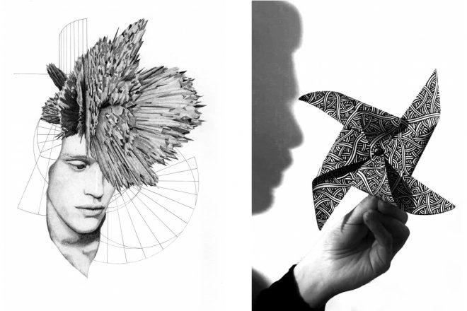 De gauche à droite : «Evolutio Hominis» (2019) de Benjamin Van Blancke et «Sans titre» (2019) de Jordane Saget