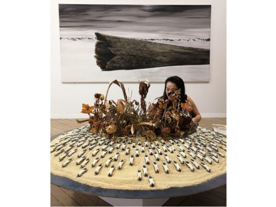 « Terminus » (au mur, 2016) et « Spaceship » (2019), Shiori Eda – A2Z Art Gallery