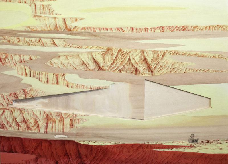 YOON Ji-Eun, Sur une page. Crayon,crayons de couleur, acrylique, sculpture sur bois, (63,5 x 87 cm), 2019.