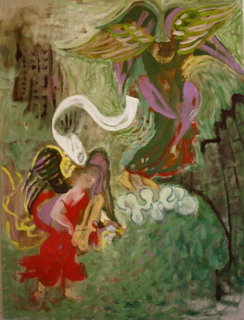 L'ange musicien, tempera sur toile (97 x 130 cm)