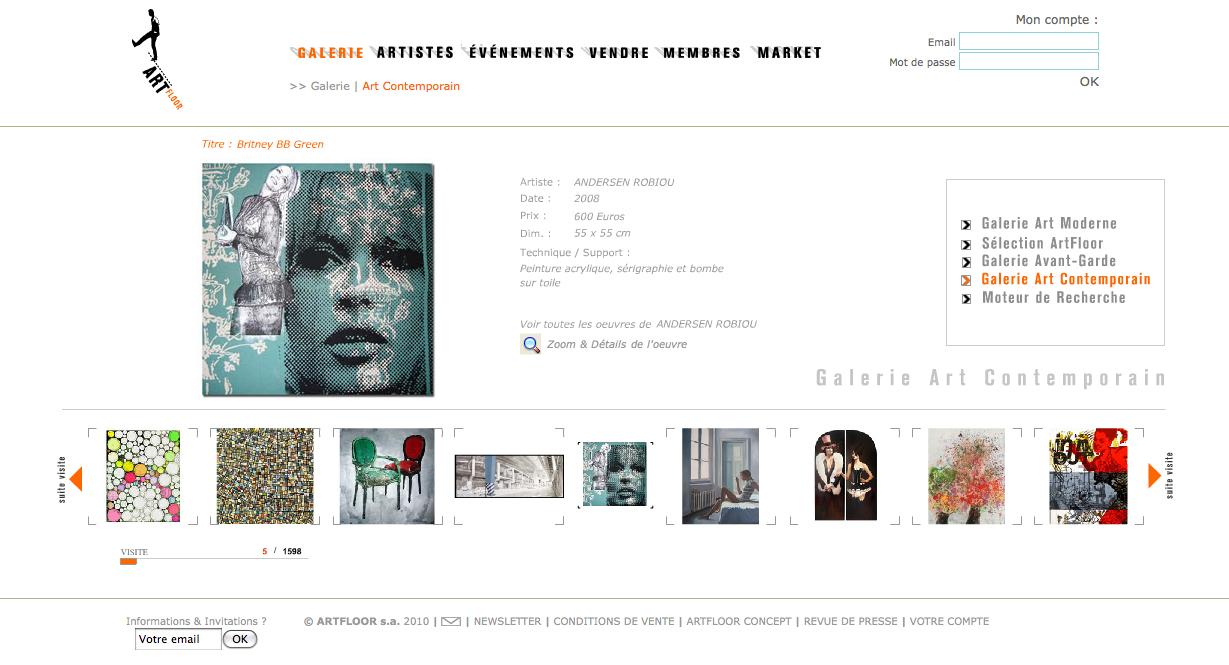 Page d'accueil de la galerie @art contemporain du site @ArtFloor.com