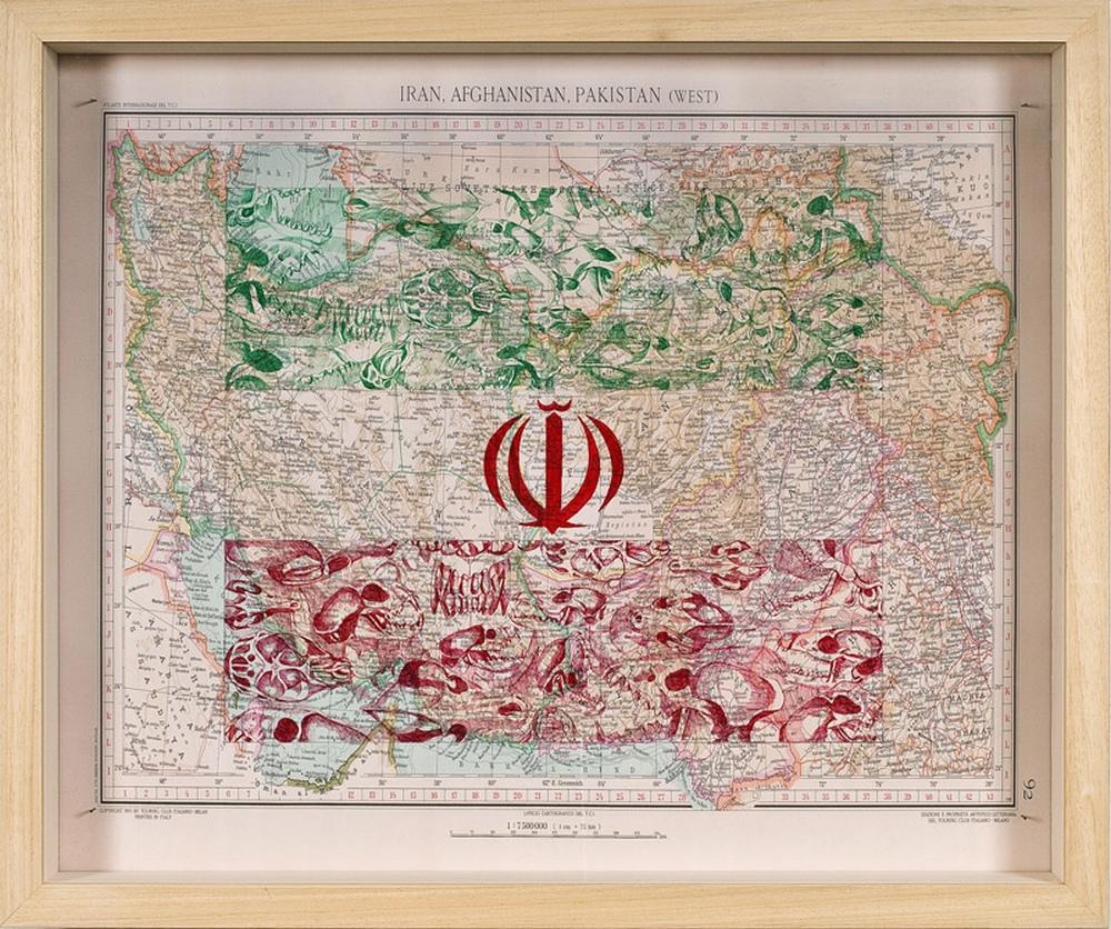 Iran, stylo Bic sur papier (71 x 85 cm)