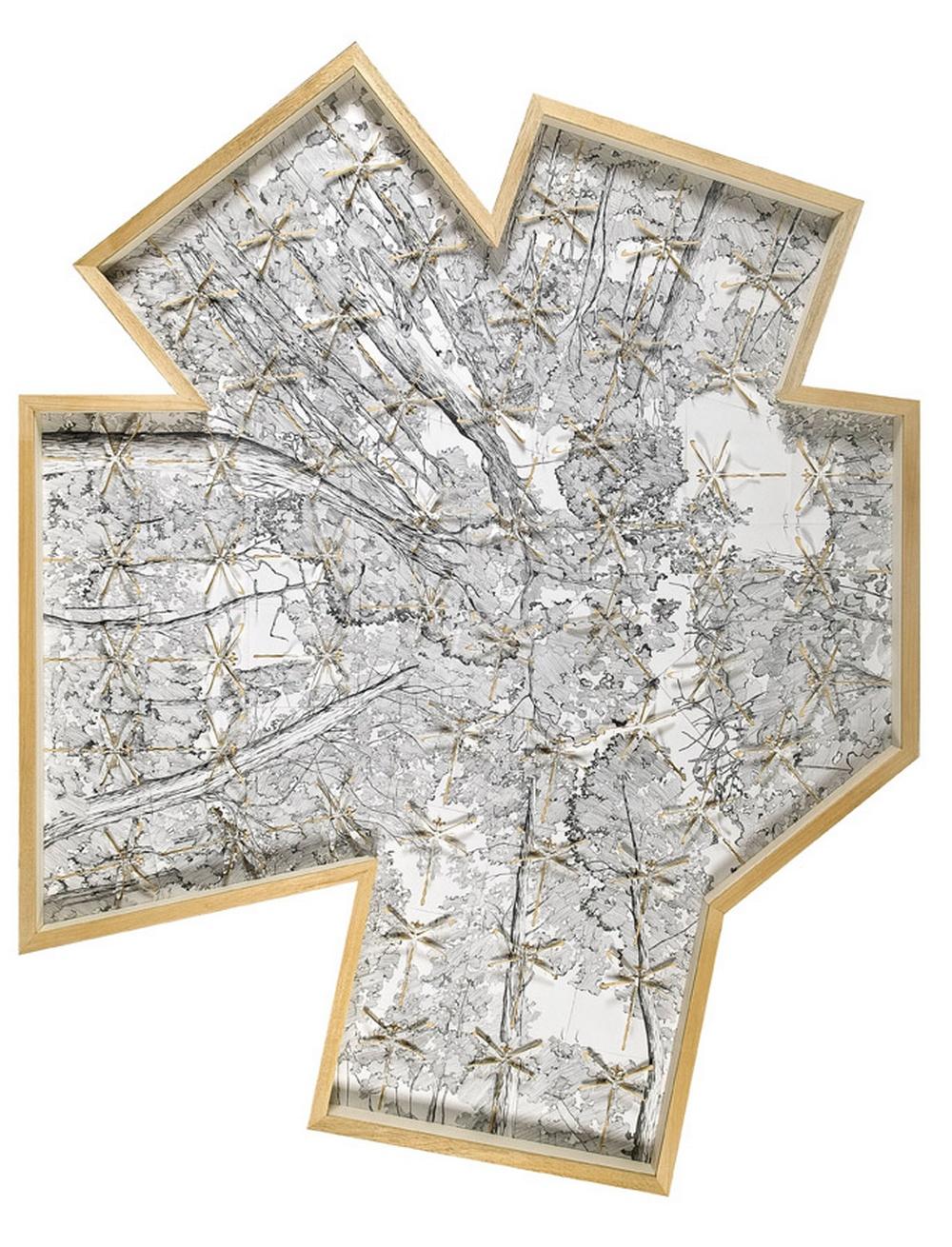 Sans titre 4.10, crayon et papier découpé@(226 x 196 cm)