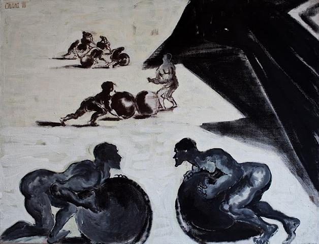 L'enfer, les avares et les prodigues, chant 7, tempera sur toile (89 x 116 cm)