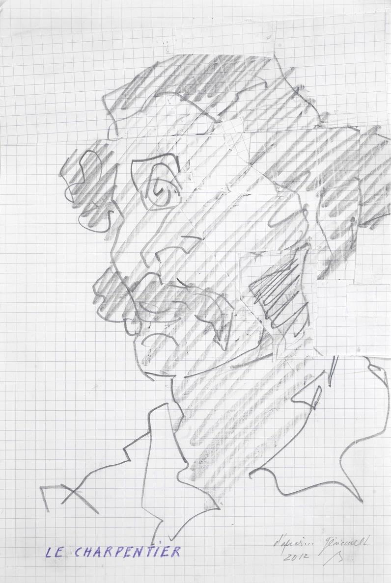 D'après… Géricault. Le Charpentier, rafistolage, crayon sur papier quadrillé, découpage et collage