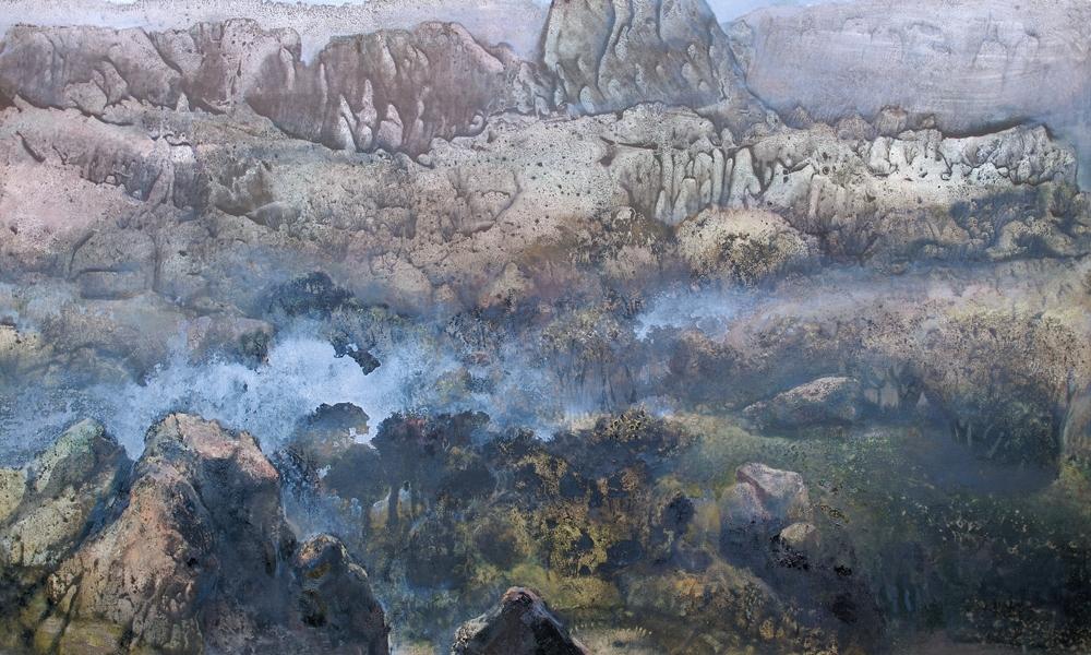 Canyon, technique mixte sur toile (97 x 163)