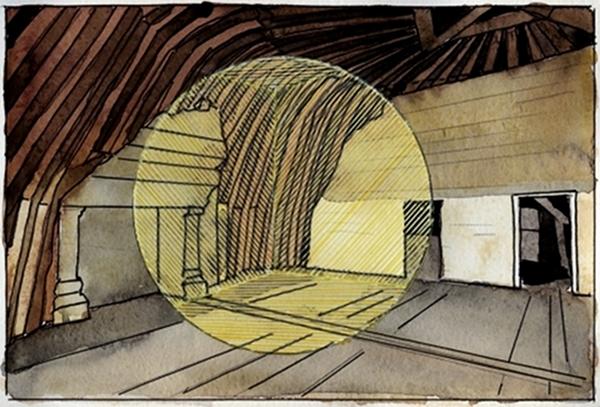 Esquisse préparatoire pour l'installation 1@(Chambord) crayon feutre et aquarelle@sur papier (15 x 21 cm)