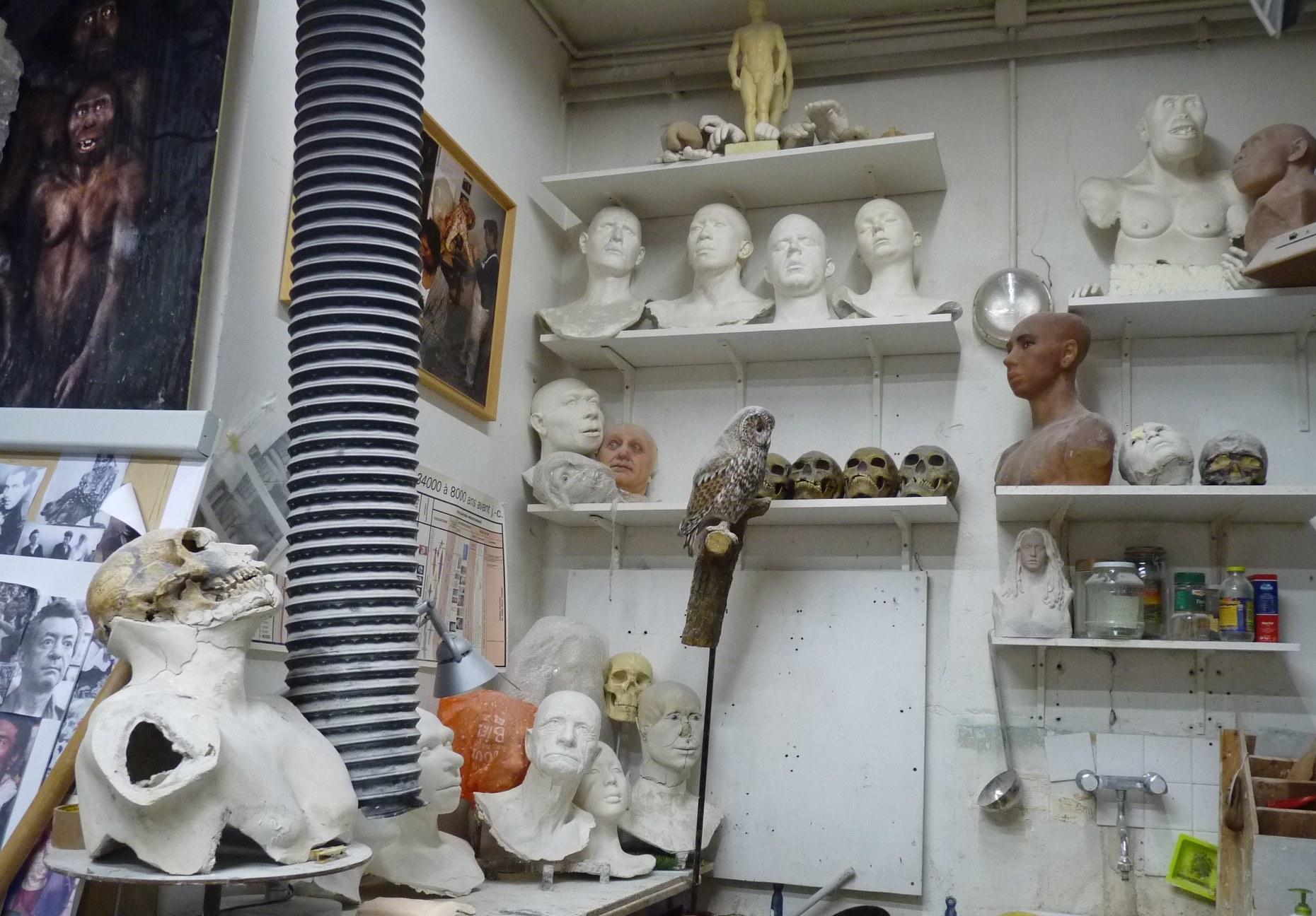 Vue de l'atelier d'Elisabeth Daynès