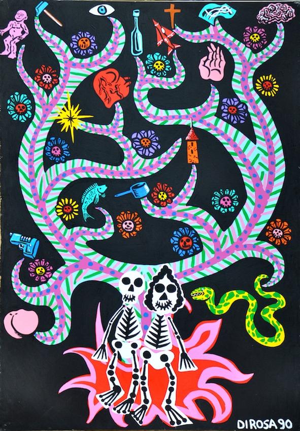 L'arbre aux squelettes, acrylique sur papier (153 x 103 cm)