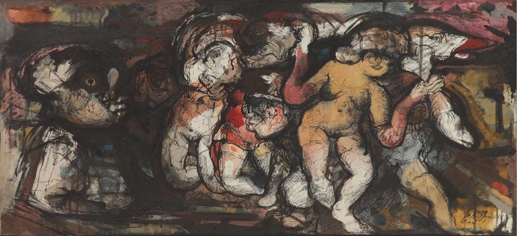 A Dunkerque, encre de Chine, aquarelle et huile sur papier@(96 x 147 cm)
