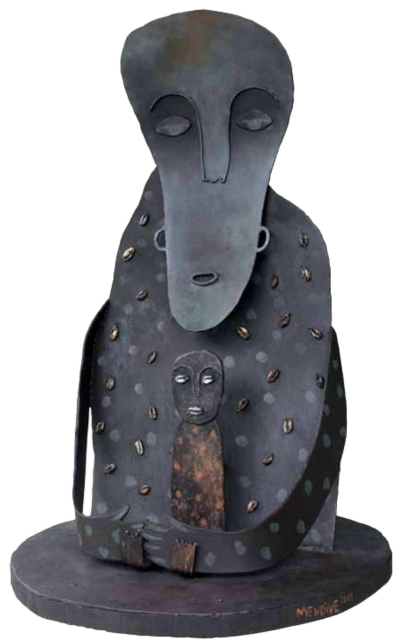 El abrazo, techniques mixtes et métal (59,5 x 95 x 40,5 cm)