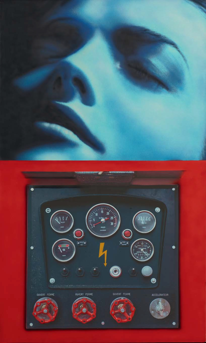Blue Dream / Haute Tension –@Accélérateur, impression photographiqu@ et aérographe (161.5 x 98 cm)