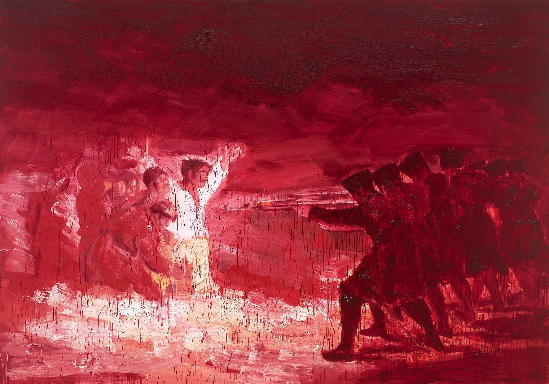 Exécution, après Goya, huile sur toile (280 x 400 cm)
