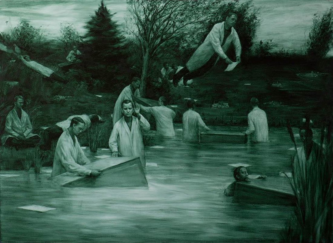 The Relocation, huile sur toile (galerie Maria Lund)