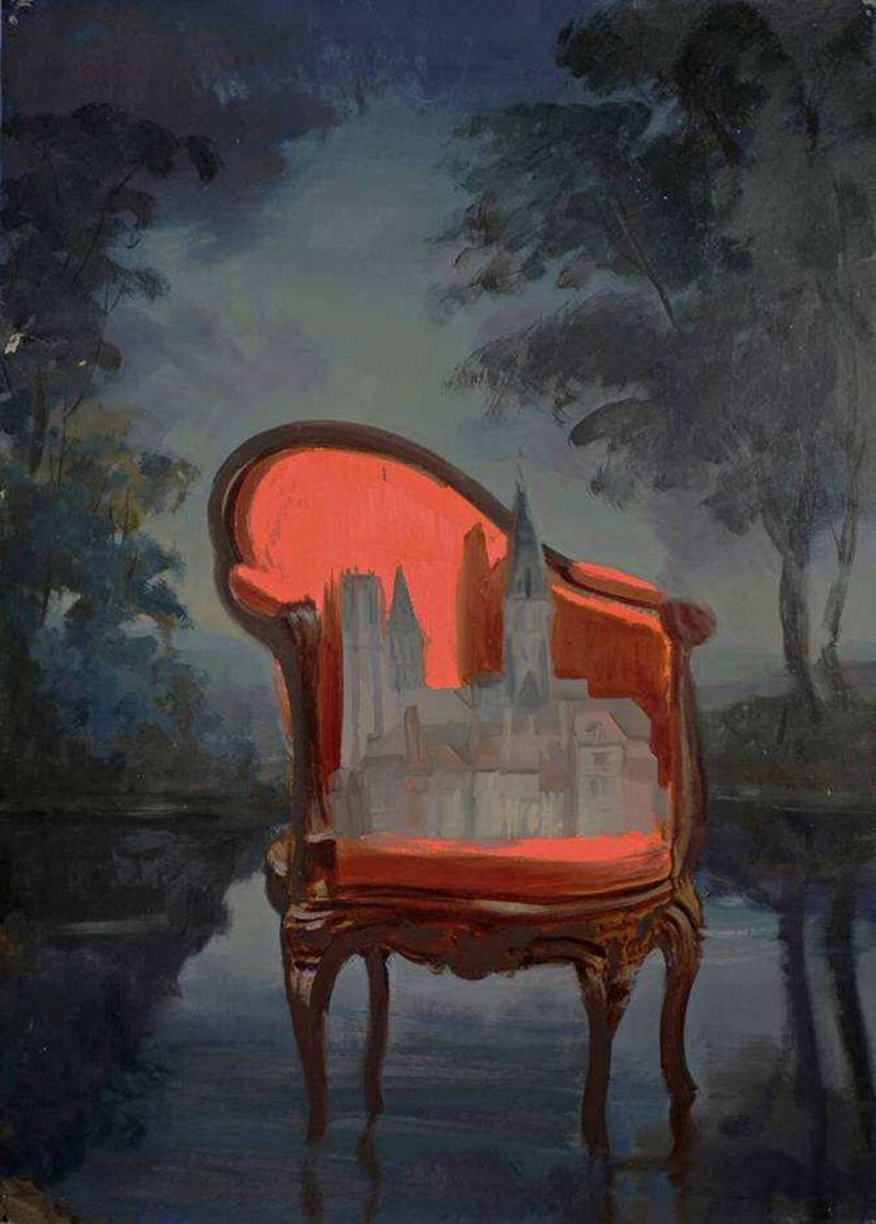 Cathédrale française, huile sur toile (105 x 75 cm)