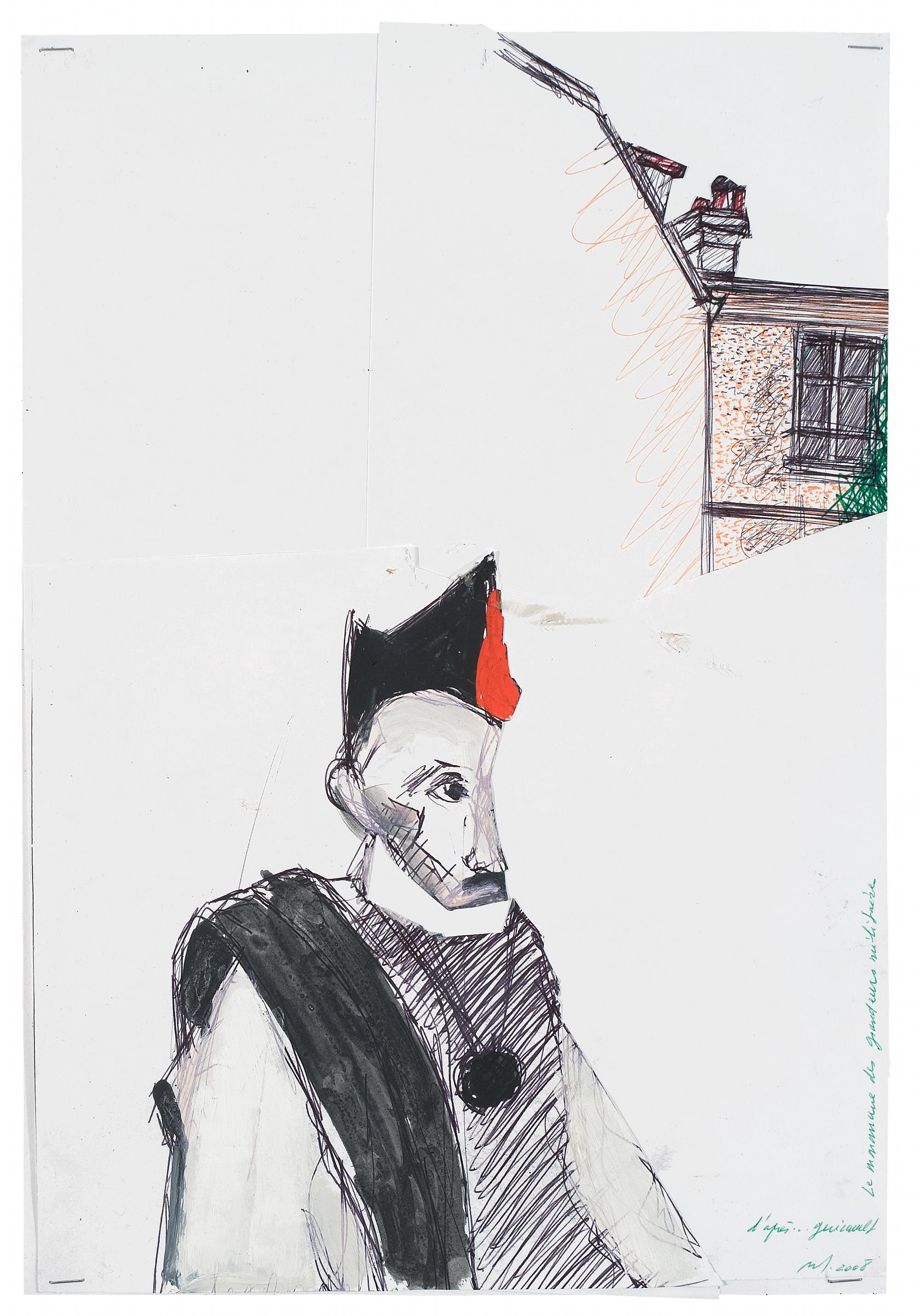 D'après… Géricault. Le monomane@des grandeurs militaires, crayon à bille, gouache, découpage