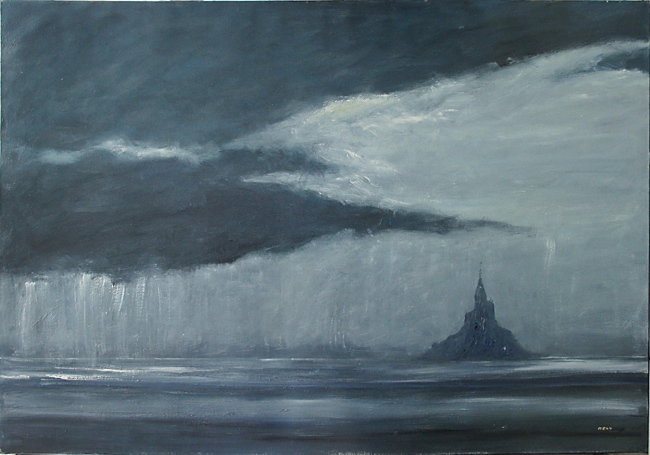 Orage sur le mont Saint Michel@(114 x 162 cm)
