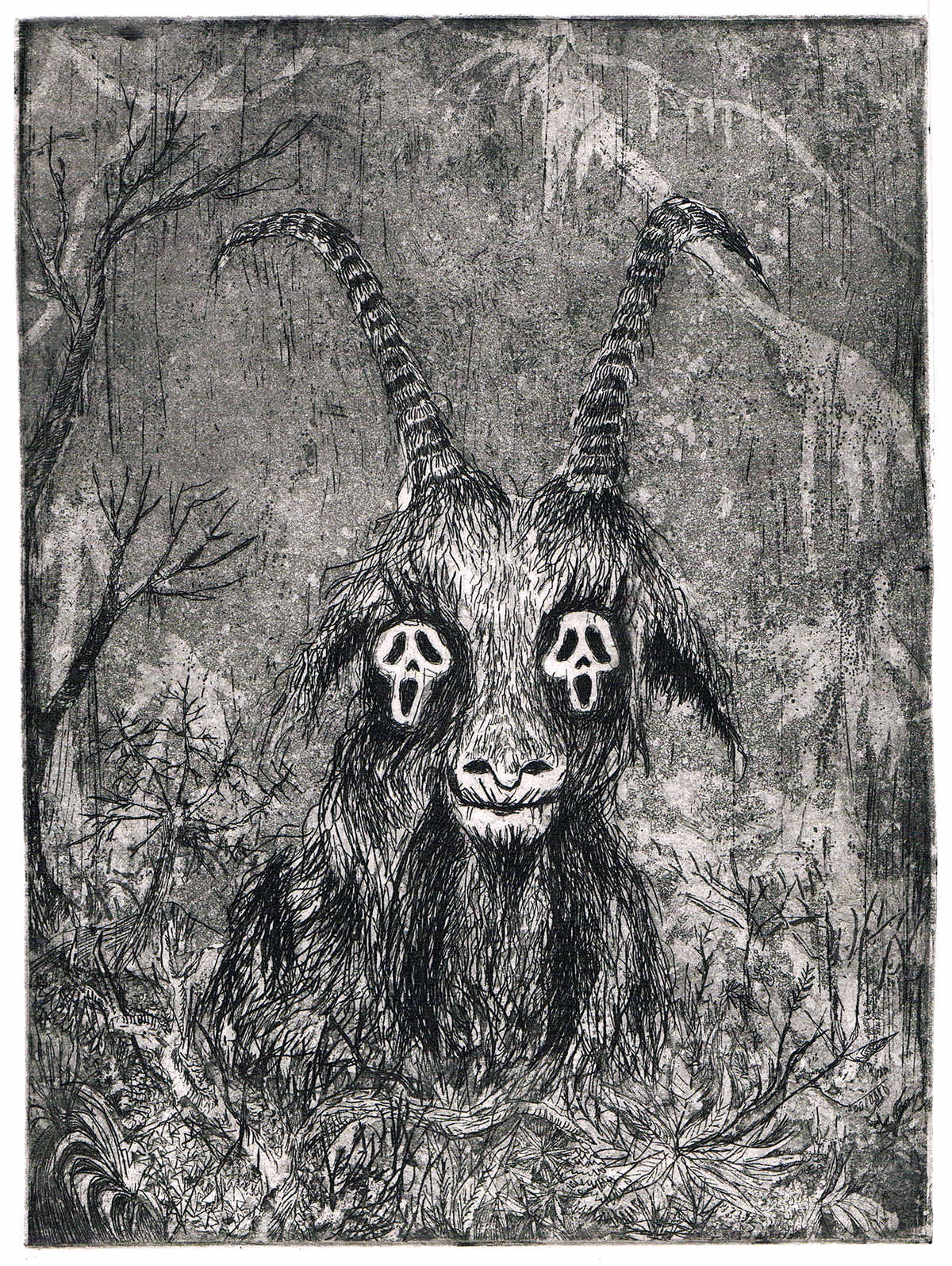 Scream Goat, eau-forte et aquatinte (30 x 40 cm)