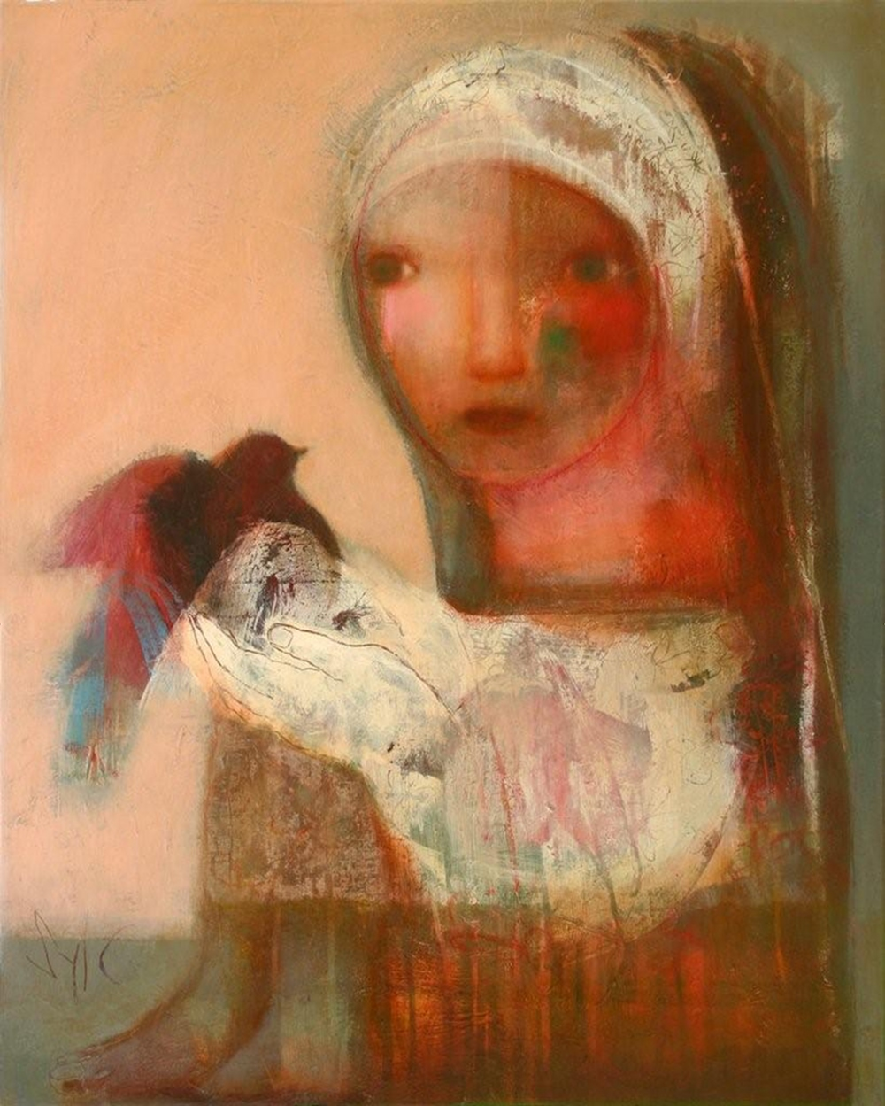 La prophétie de l'oiseau, technique mixte sur toile (81 x 65 cm)