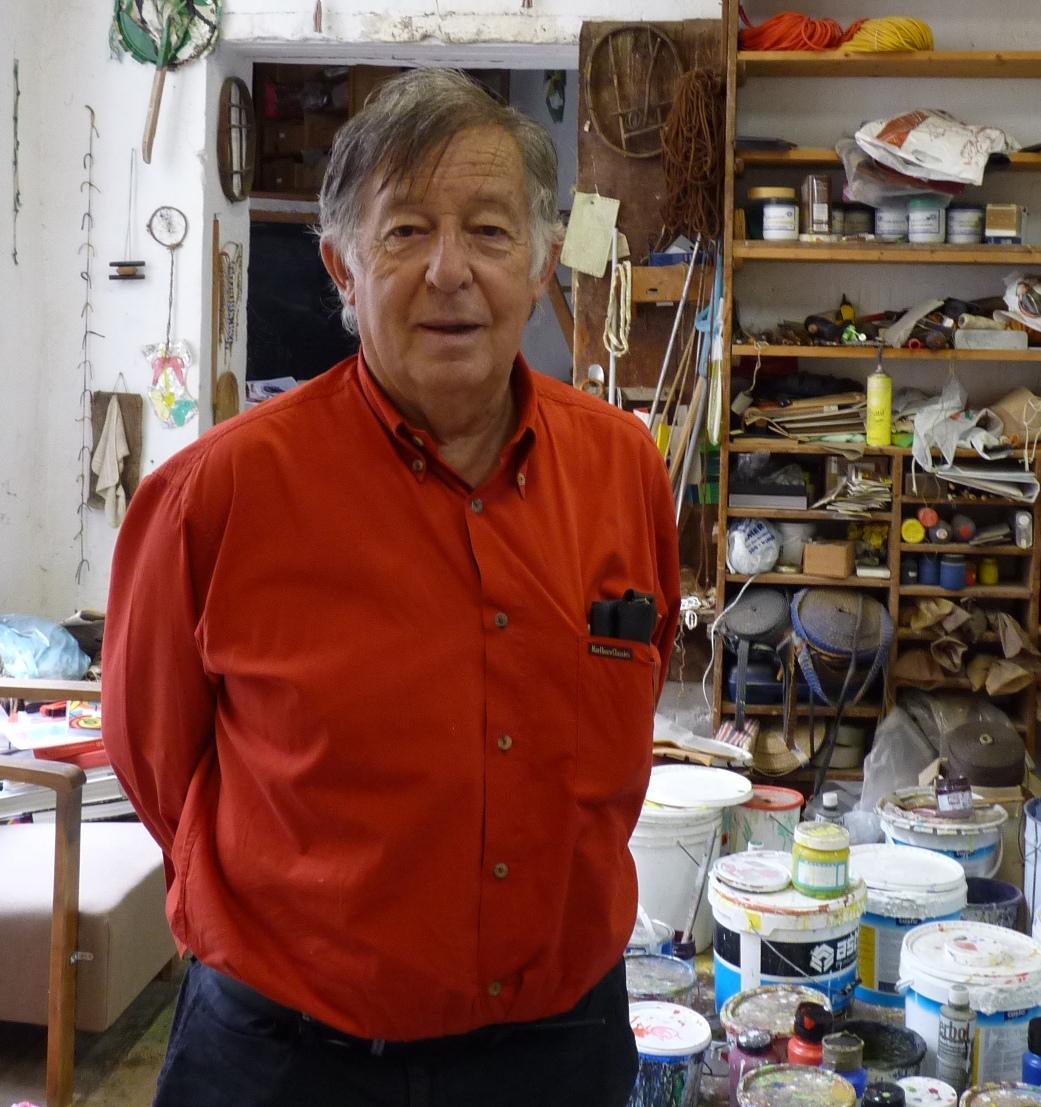 Claude Viallat dans son atelier@en septembre 2012   