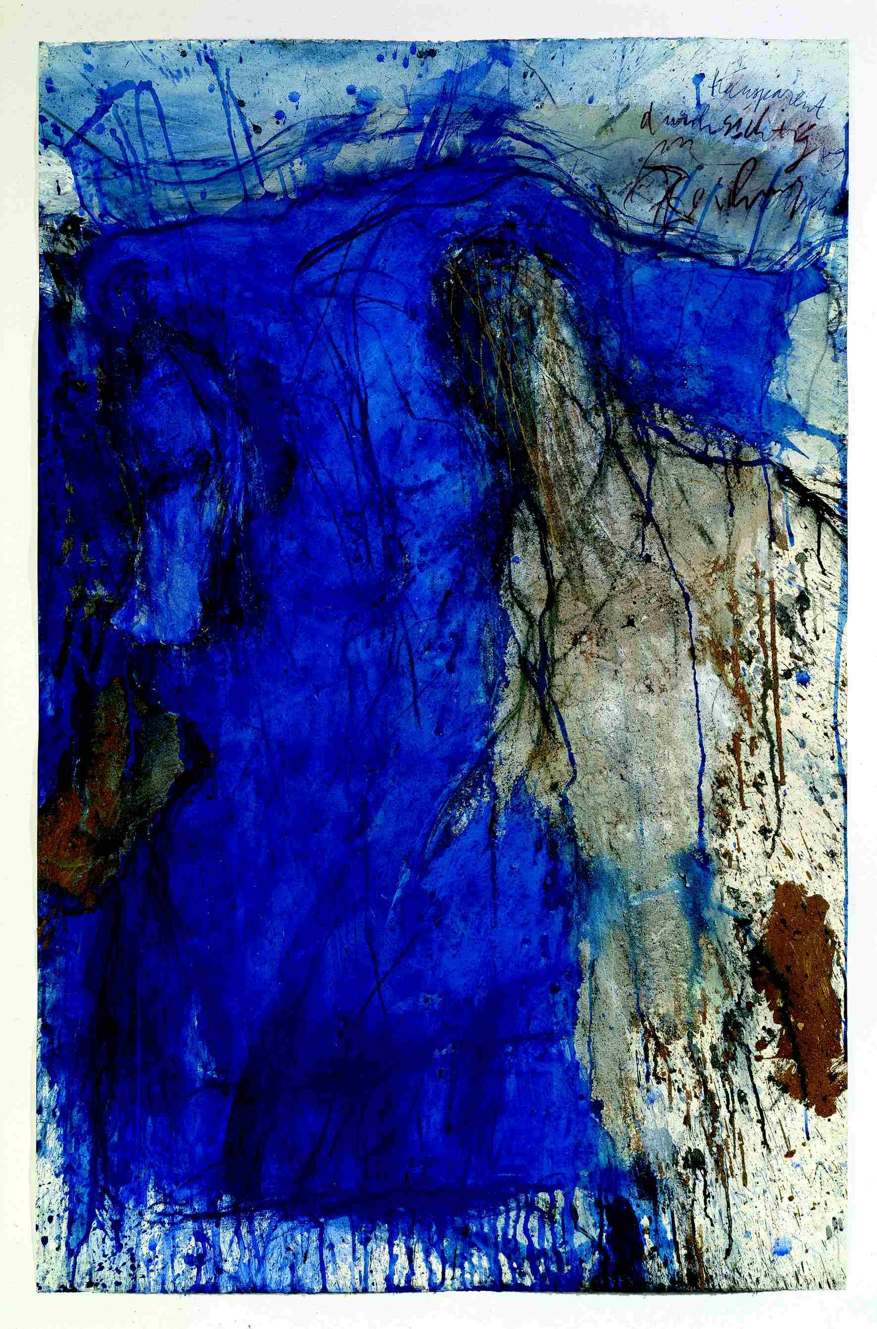 Eintreten in den grossen Stein, terre, charbon, pigments et gouache sur papier, (152 x 100 cm)