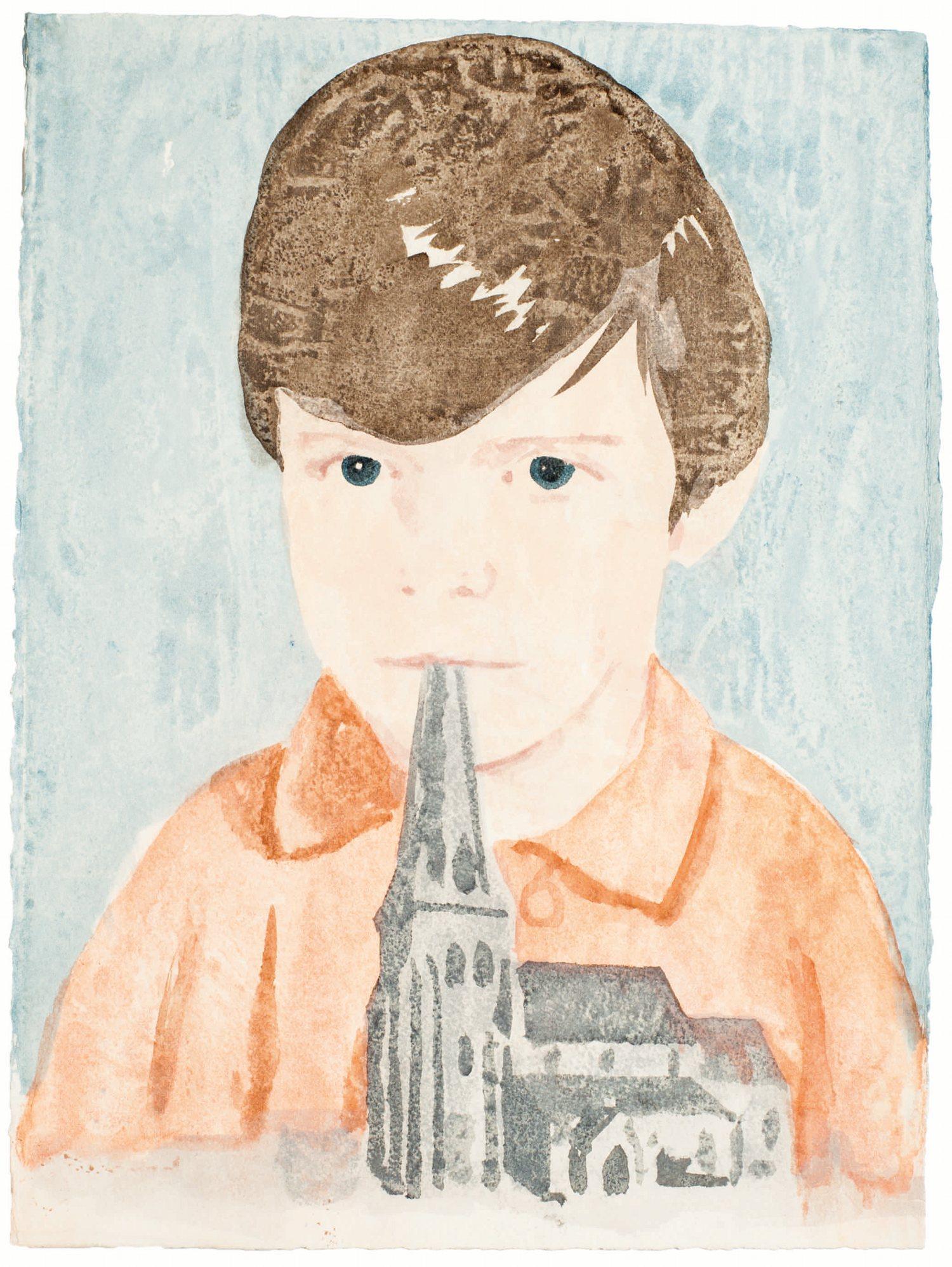 A Place to Hide, aquarelle sur papier@(38 x 28.5 cm)