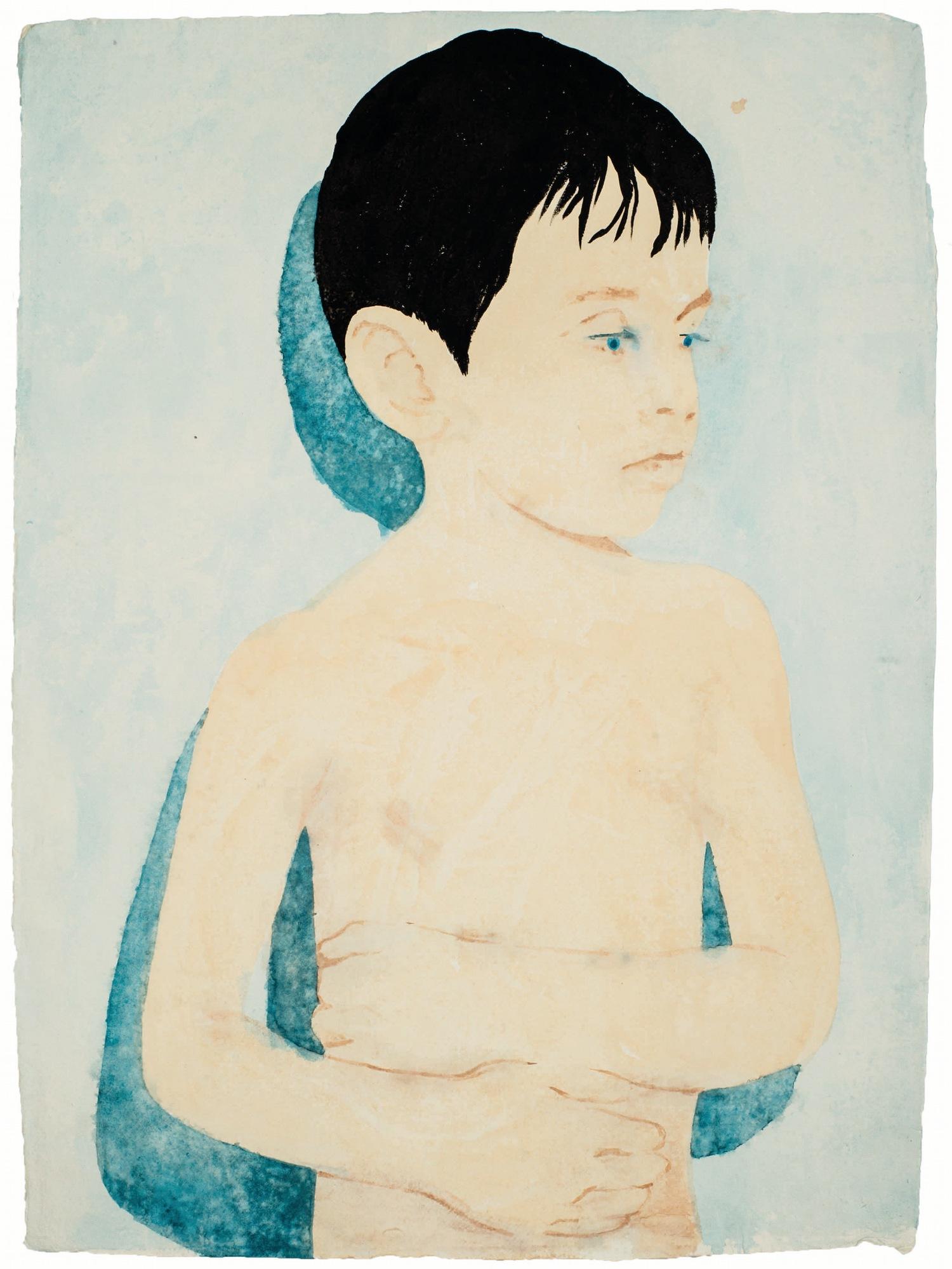 Boy with Shadow, aquarelle sur papier@(76 x 56.5 cm)