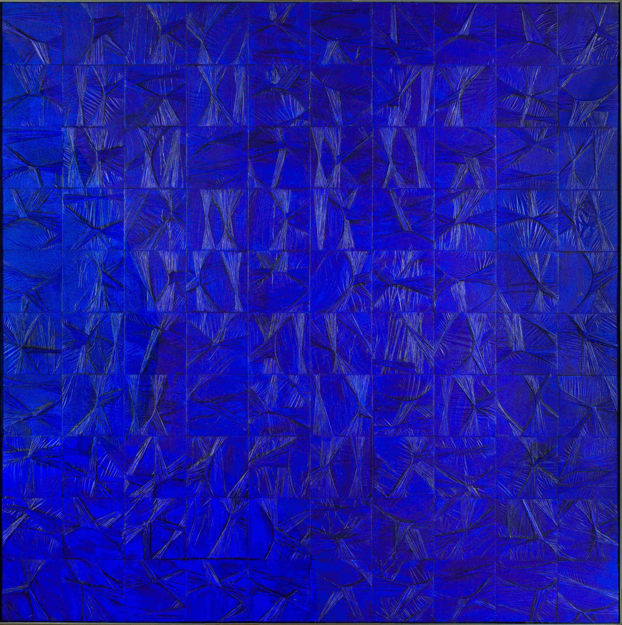 Tension-torsion aux cent carrés, version monochrome bleu