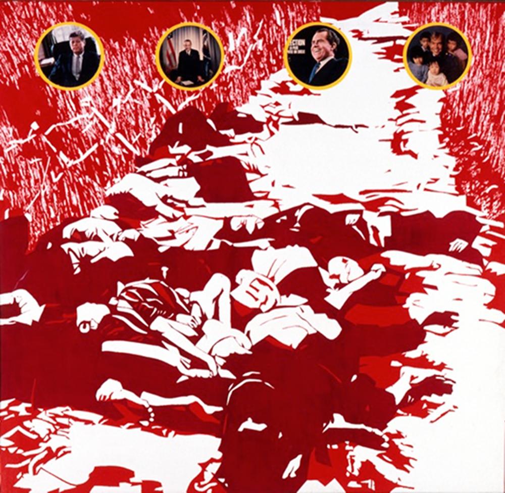 Kennedy, Jonhson, Nixon et le lieutenant Calley@sur le chemin de My-Lai, acrylique sur toile
