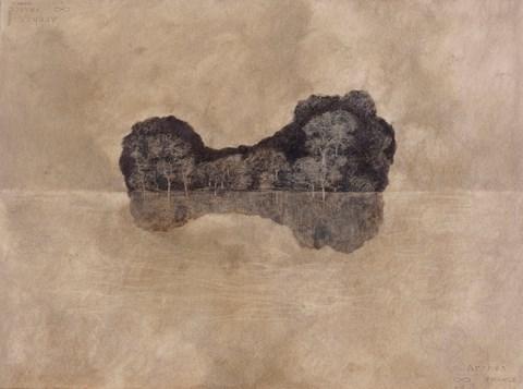 Entre ciel et eau, cire et pigment sur papier arche@(77 cm x 55 cm)