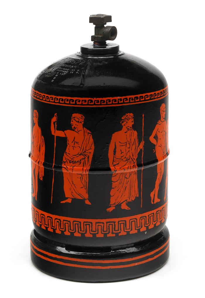 Gandagas A78522, peinture émaillée sur bonbonne de gaz, (60 x 30 x 30 cm)