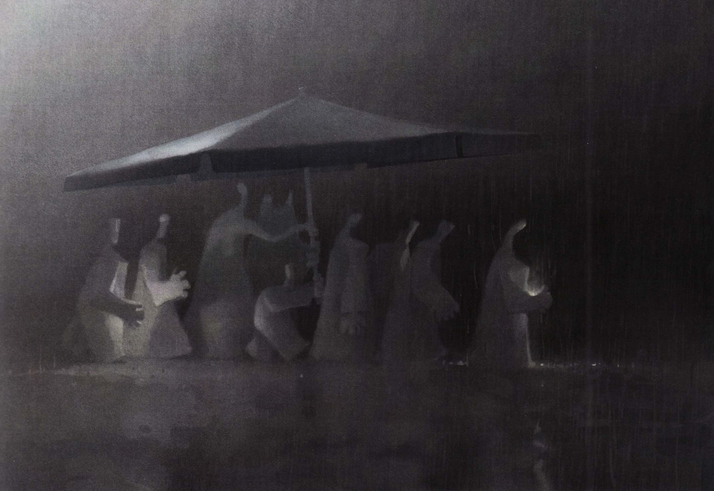 La pluie,@huile sur toile (130 x 97 cm)