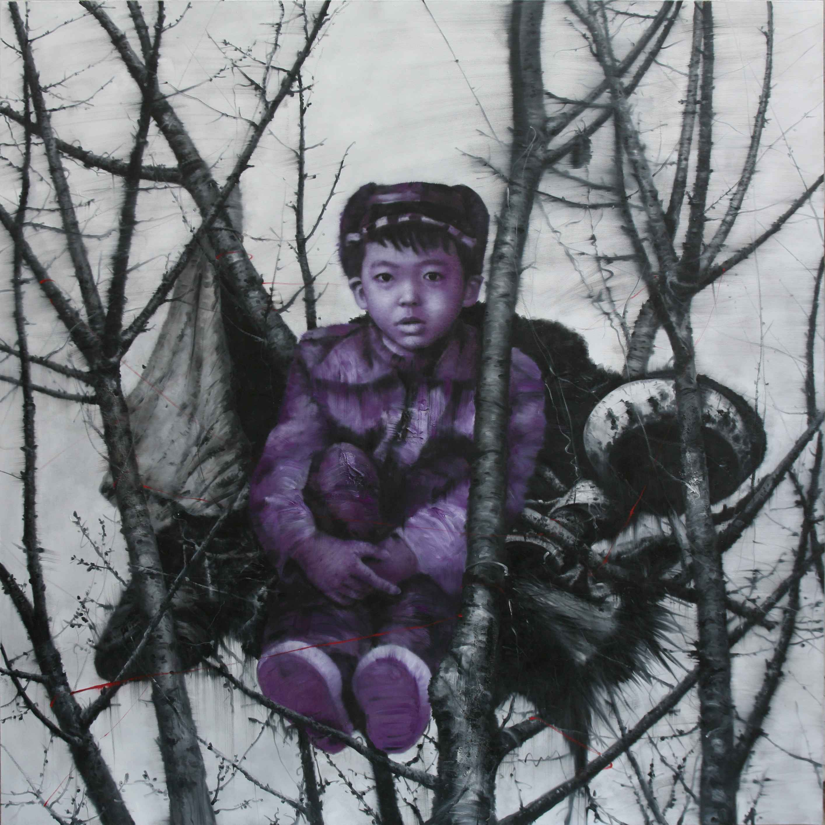 Living in the tree, huile sur toile, 200 x 200 cm