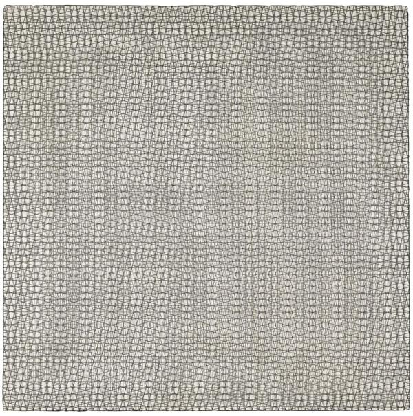 Trois grillages superposés, (0°, +15°, -15°), (80 x 80 cm)